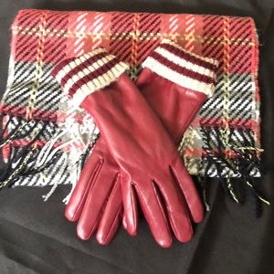 109% acrylic scarf and matching red gloves.